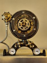 Steampunk desk or dresser skeleton clock: mantel clock that looks like a part of Jules Verne submarine time machine.