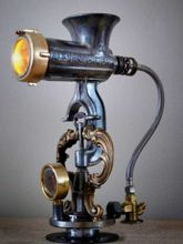 Steampunk desk or dresser lamp for sale: with Armcarbon filament lamphourglass and and cable dimmer.
