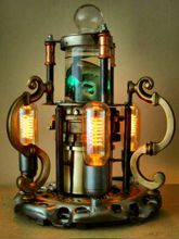 Steampunk Art Alchemy lamp for sale: Decorative piece of art with taxidermy Dog Head Boa.