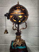 Steampunk Art desk or dresser lamp for sale: Decorative piece of art with skulls and flowers.