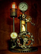 Steampunk Art Alchemy lamp for sale: Decorative piece of art with taxidermy  Flying Dragon.