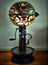 Steampunk Art floor lamp: Decorative piece of art with owl.