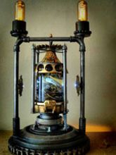 Steampunk Art Alchemy lamp for sale: Decorative piece of art with taxidermy two Pythons.