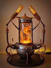 Steampunk Art Alchemy lamp for sale: Decorative piece of art with taxidermy Bearded Dragon.