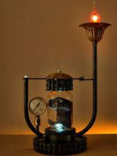 Steampunk Art Alchemy lamp for sale: Decorative piece of art with taxidermy stillborn kitten.