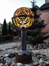 Steampunk Art garden lamp: Decorative piece of art with jugenstil design.