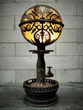 Steampunk Art floor lamp: Decorative piece of art with art deco design.
