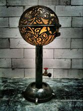 Steampunk Art floor lamp: Custom piece of art made for tattoo artist with skulls and logo.