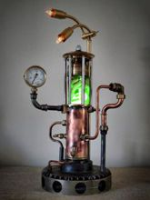 Steampunk Art Alchemy lamp for sale: Decorative piece of art with taxidermy  Ivory Rat Snake.