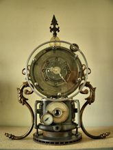 Steampunk Art desk or dresser clock: mantel clock that looks like a time machine.