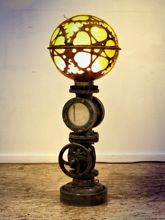 Steampunk Art floor lamp: Decorative piece of art with heart shaped gears.