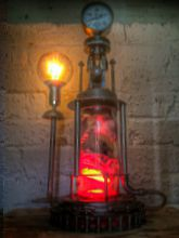 Steampunk Art Alchemy lamp for sale: Decorative piece of art with taxidermy centipedes.