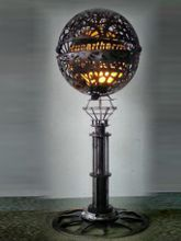 Steampunk Art floor lamp: Decorative piece of art made for sponsor Hypertherm.