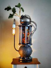 Steampunk Art Alchemy lamp for sale: Decorative piece of art with taxidermy lizards.