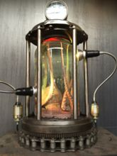 Steampunk Art Alchemy lamp for sale: Decorative piece of art with taxidermy octopus.