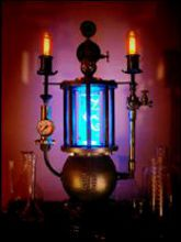 Steampunk Art Alchemy lamp for sale: Decorative piece of art with taxidermy  Chameleon.