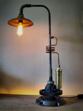 Steampunk desk or dresser lamp for sale: Adjustable and rotatable lamp.  Armcarbon filament lamphourglass and and cable dimmer.