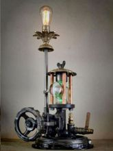 Steampunk Art Alchemy lamp for sale: Decorative piece of art with taxidermy wild boar.
