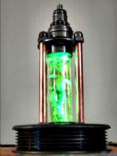 Steampunk Art Alchemy lamp for sale: Decorative piece of art with taxidermy insect.