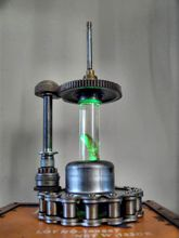 Steampunk Art Alchemy lamp for sale: Decorative piece of art with taxidermy larve.