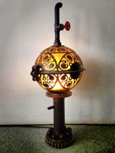 Steampunk Art floor lamp for sale: extra large piece of art made with jugendstil design.