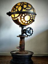 Steampunk Art floor lamp for sale: Decorative piece of art with gear design.