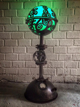 Steampunk Art floor lamp: Decorative piece of art with curls.